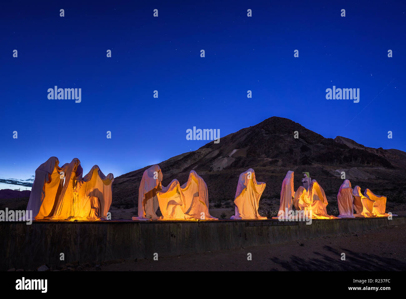 Creepy ghost sculpture installation in Rhyolite, Nevada - Stock Image