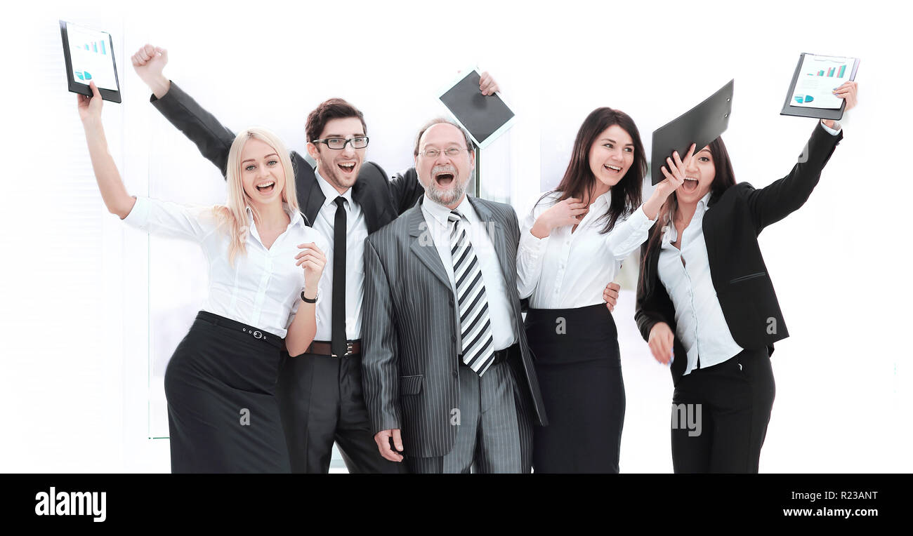 happy business team raising hands, rejoicing.the concept of success Stock Photo