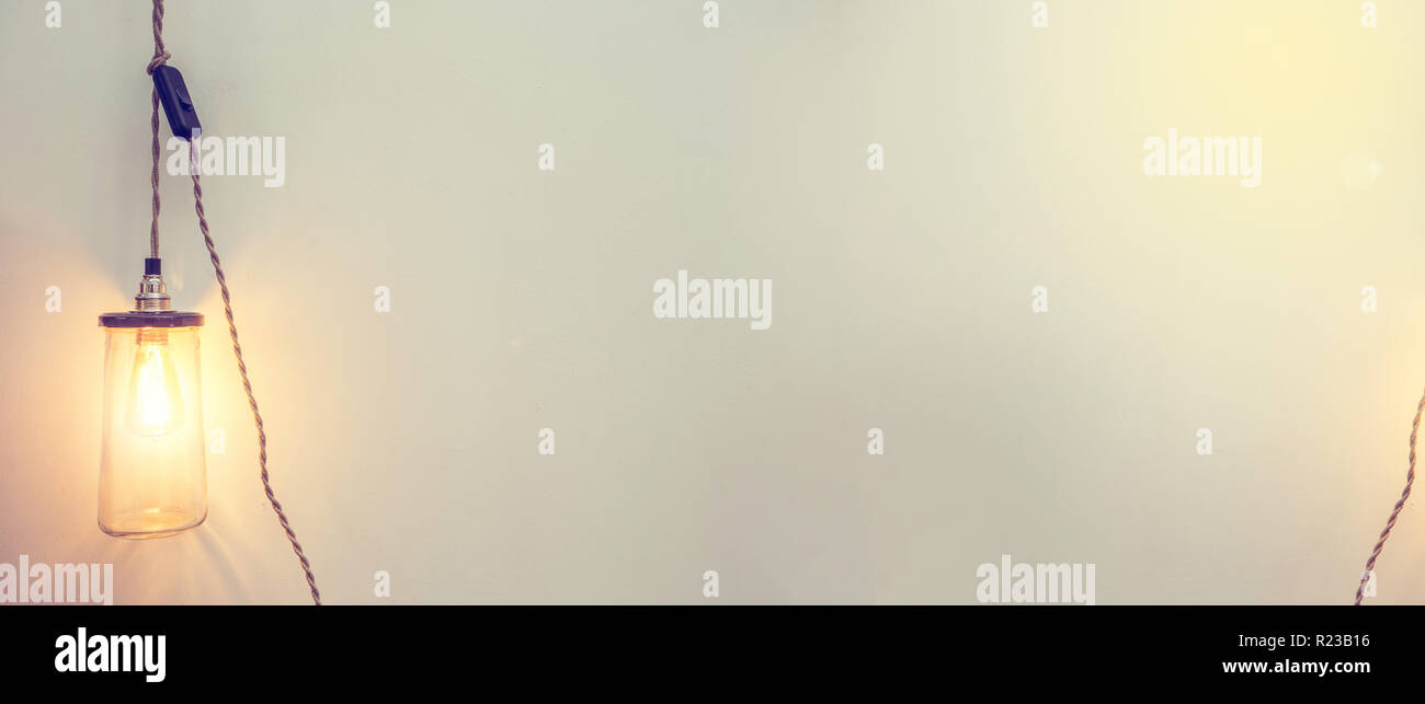 background banner with light bulb glowing, modern design colorful - Stock Image