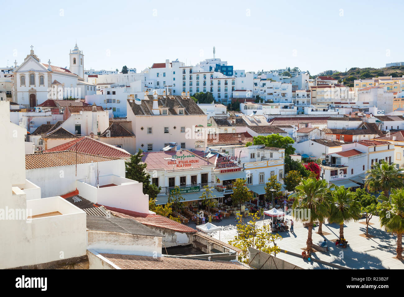 Albufeira, Portugal - May 2012: View of roof tops and main square, Albufeira, Portugal Stock Photo