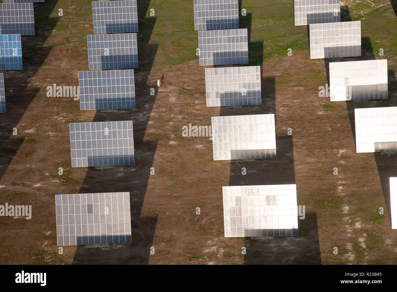 Aerial view  of solar panels in Huelva Province, Spain Stock Photo