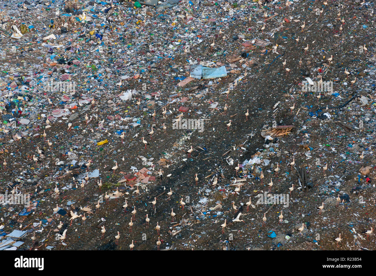 Aerial view of rubbish in land fill site, Andalucia, Spain Stock Photo