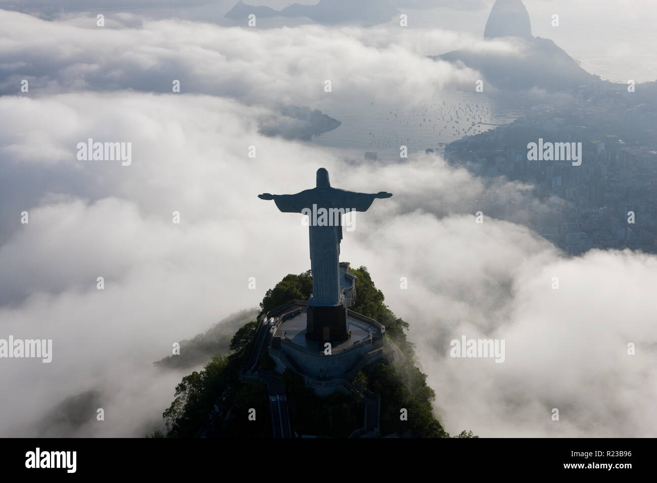 The giant Art Deco statue of Jesus, known as Cristo Redentor (Christ the Redeemer), on Corcovado mountain in Rio de Janeiro, Brazil. Stock Photo