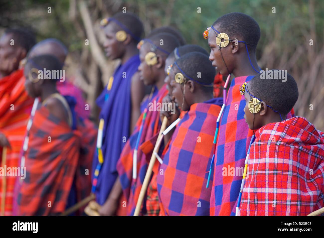 Kenya, Africa - January 2006: Young Maasi Mara initiates Stock Photo