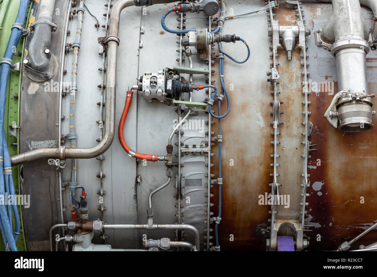 Detail of the side of a turbofan jet engine - Pembroke Pines, Florida, USA - Stock Image