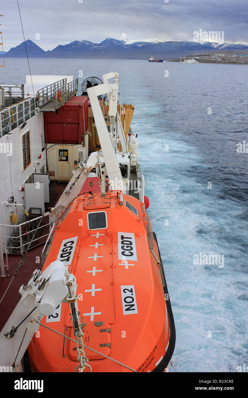 View From the CCGS Amundsen as She Sails out of Pond Inlet, Nunavut, Canada - Stock Image