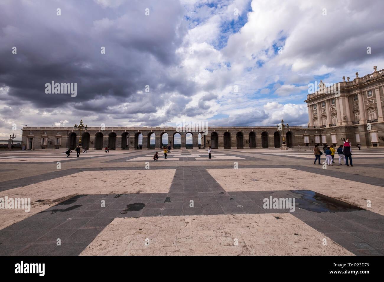 Courtyard and exterior views of the Royal palace, Palacio Real, in Madrid, Spain - Stock Image