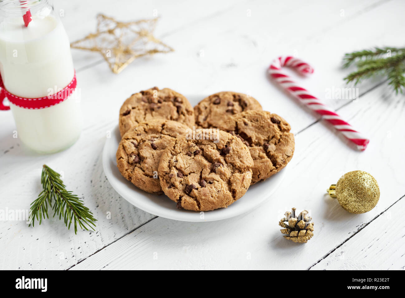 Chocolate Chip Cookies And Milk For Santa Traditional Christmas