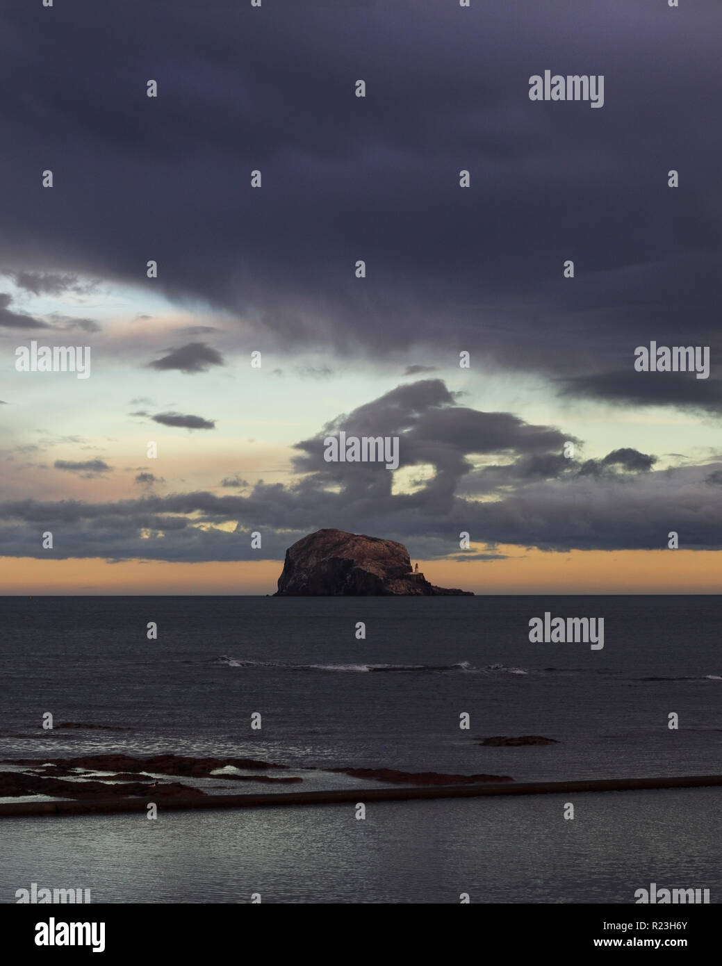 The Bass Rock off the coast of North Berwick at sunset Stock Photo