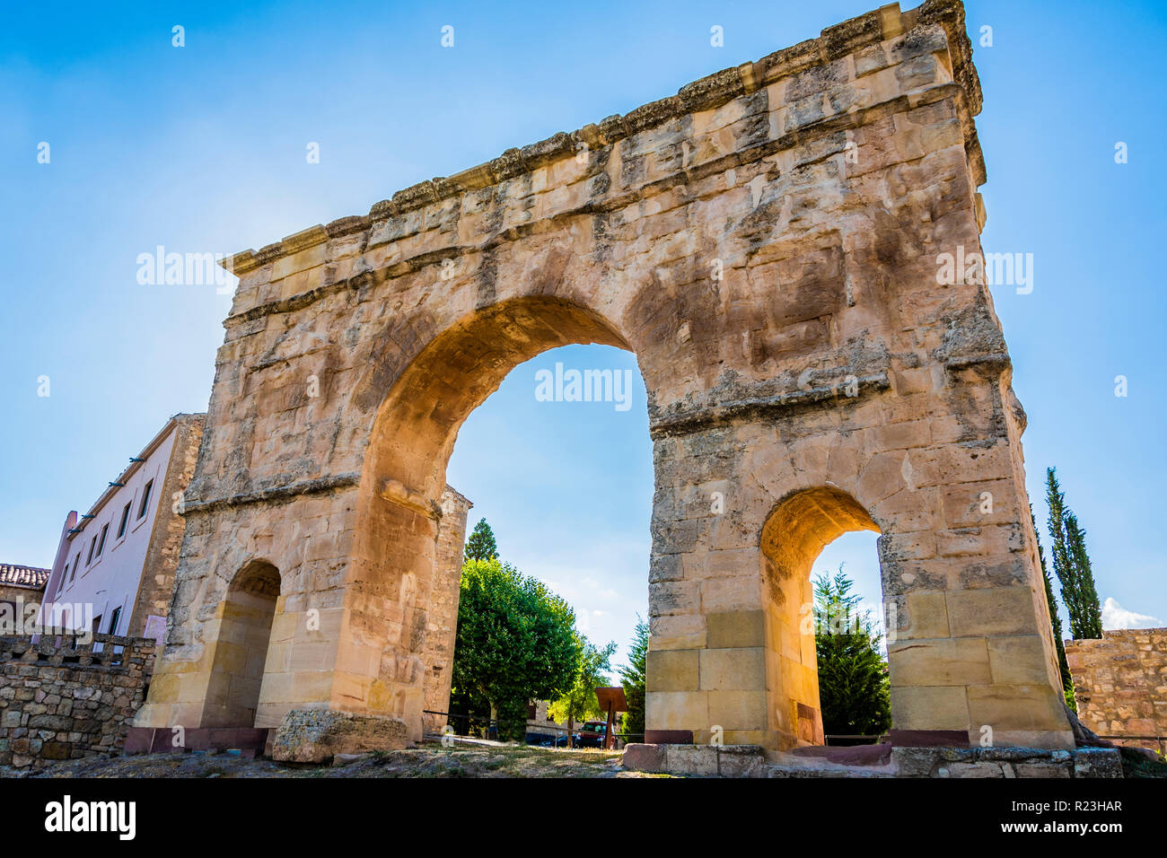 Close-up of a Roman arch from the time of the Emperor Trajan, the only one remaining from three spans in Spanish territory and the town of Medinaceli  - Stock Image