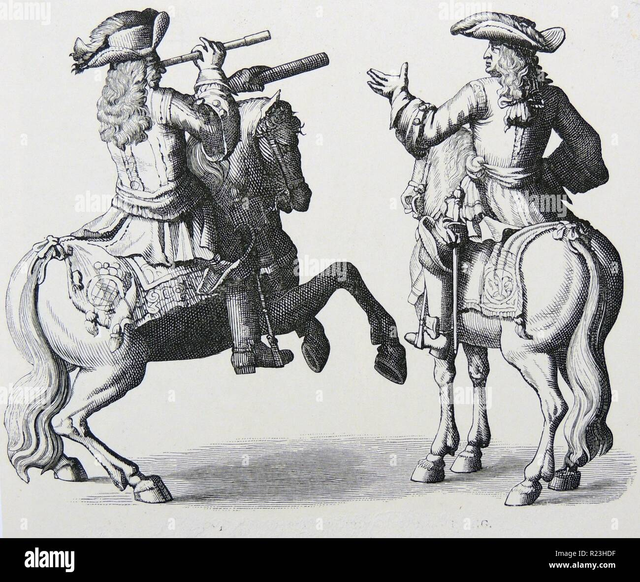 John Churchill, 1st Duke of Marlborough (1650-1722) right, and Prince Eugene of Savoy, reconnoitering during the War of the Spanish Succession (1701-1714). - Stock Image