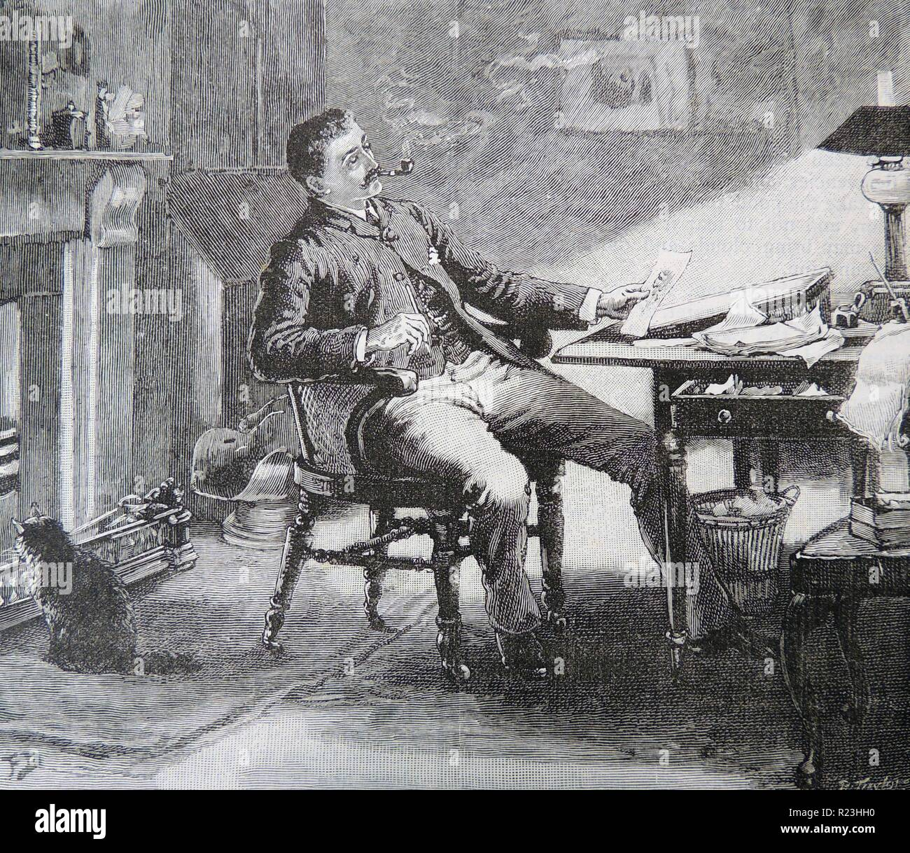 Man smoking a pipe as he sits at a table, his back to the fire, writing slope to his left. A pet cat sits on the hearthrug enjoying the warmth of the fire. Magazine illustration by Frank Dadd (1851-1929), London, 1890. - Stock Image