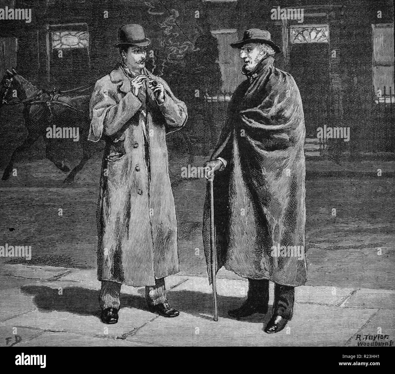 Street scene on winter night, elderly man with stick and wearing a coat, in conversation with younger man in greatcoat lighting his pipe. Magazine illustration by Frank Dadd (1851-1929), London, 1890. - Stock Image
