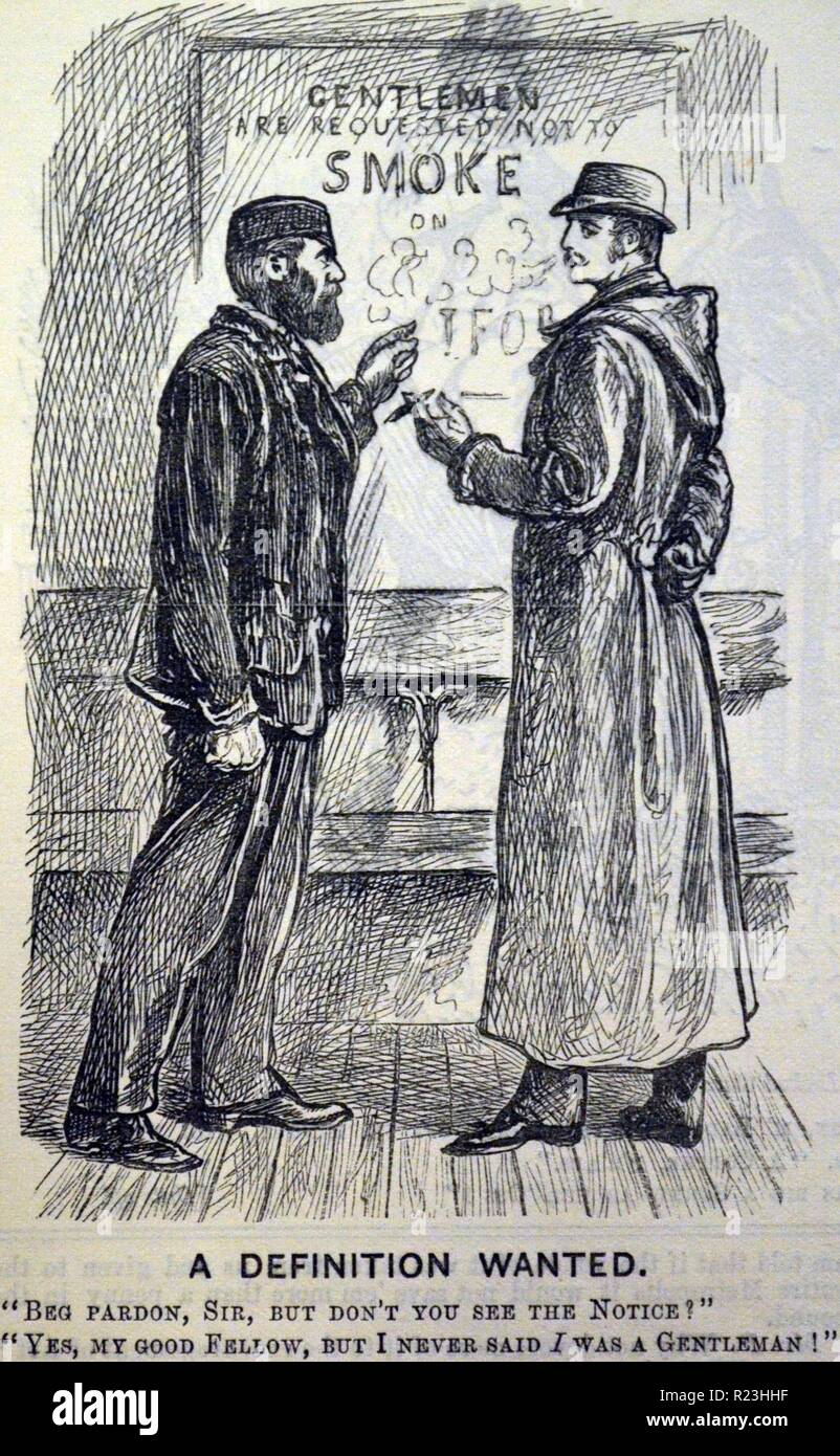 Anti-smoking poster on a British railway station. Cartoon from ''Punch'', London, 1882. - Stock Image