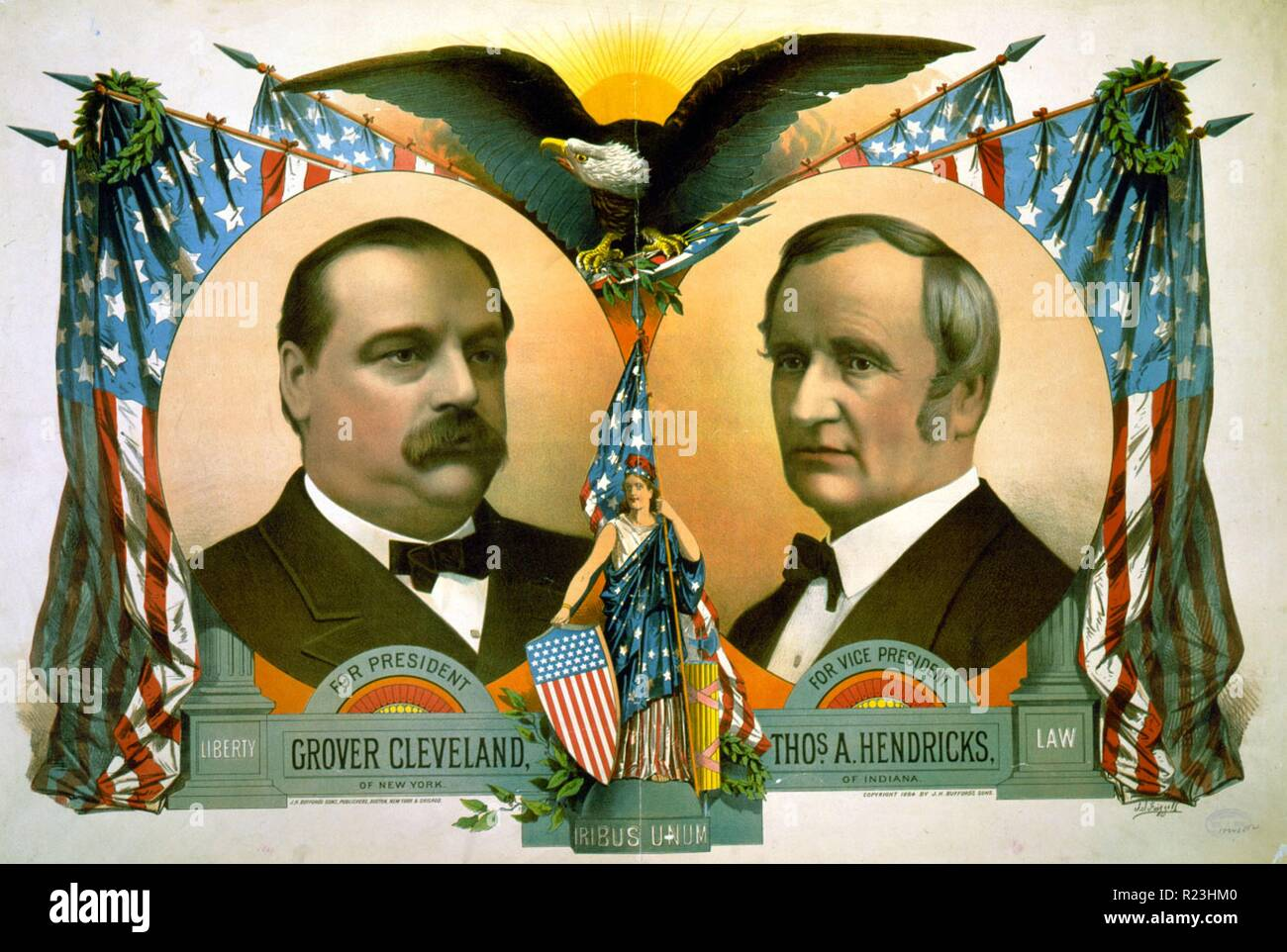 For president, Grover Cleveland of New York. For vice president, Thos. A. Hendricks, of Indiana. Campaign poster showing head-and-shoulders portraits of Grover Cleveland and Thomas A. Hendricks, surrounded by flags. - Stock Image