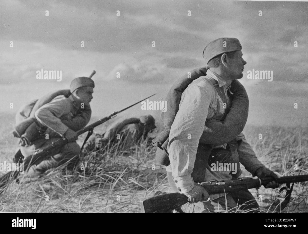 Red infantry on the move during the autumn manoeuvre of troops of the Kiev military district in the Odessa region of Ukrainian Soviet Republic 1936 - Stock Image