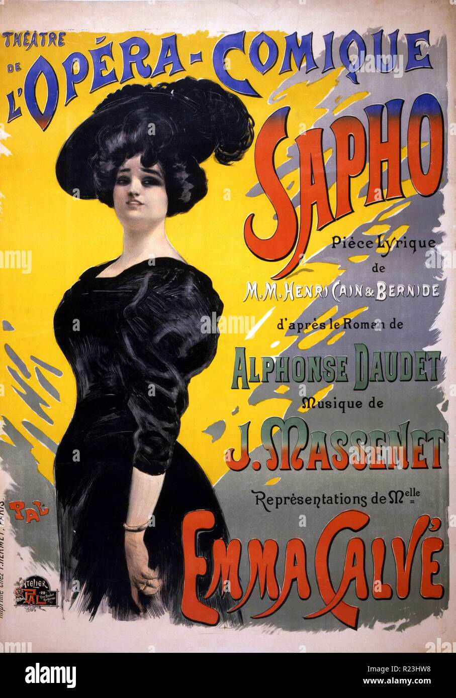 Sappho: Theatre de l'Opera-Comique. Performing arts poster for a performance of a comic opera by Henri Cain and Arthur Bernede, with music by Jules Massenet and based on a novel by Alphonse Daudet, showing Emma Calve as Fanny LeGrand. 1897 Stock Photo