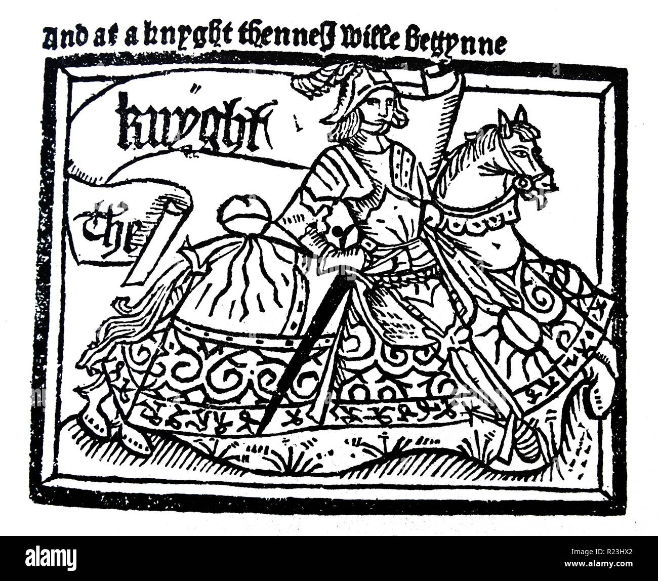 A line drawing of the Chaucer's Knight, from the Canterbury Tales 'The Knight's Tale'. The Knight's Tale, is the first tale from Geoffrey Chaucer's The Canterbury Tales. The story introduces various typical aspects of knighthood such as courtly love and ethical dilemmas. Dated 14th Century - Stock Image