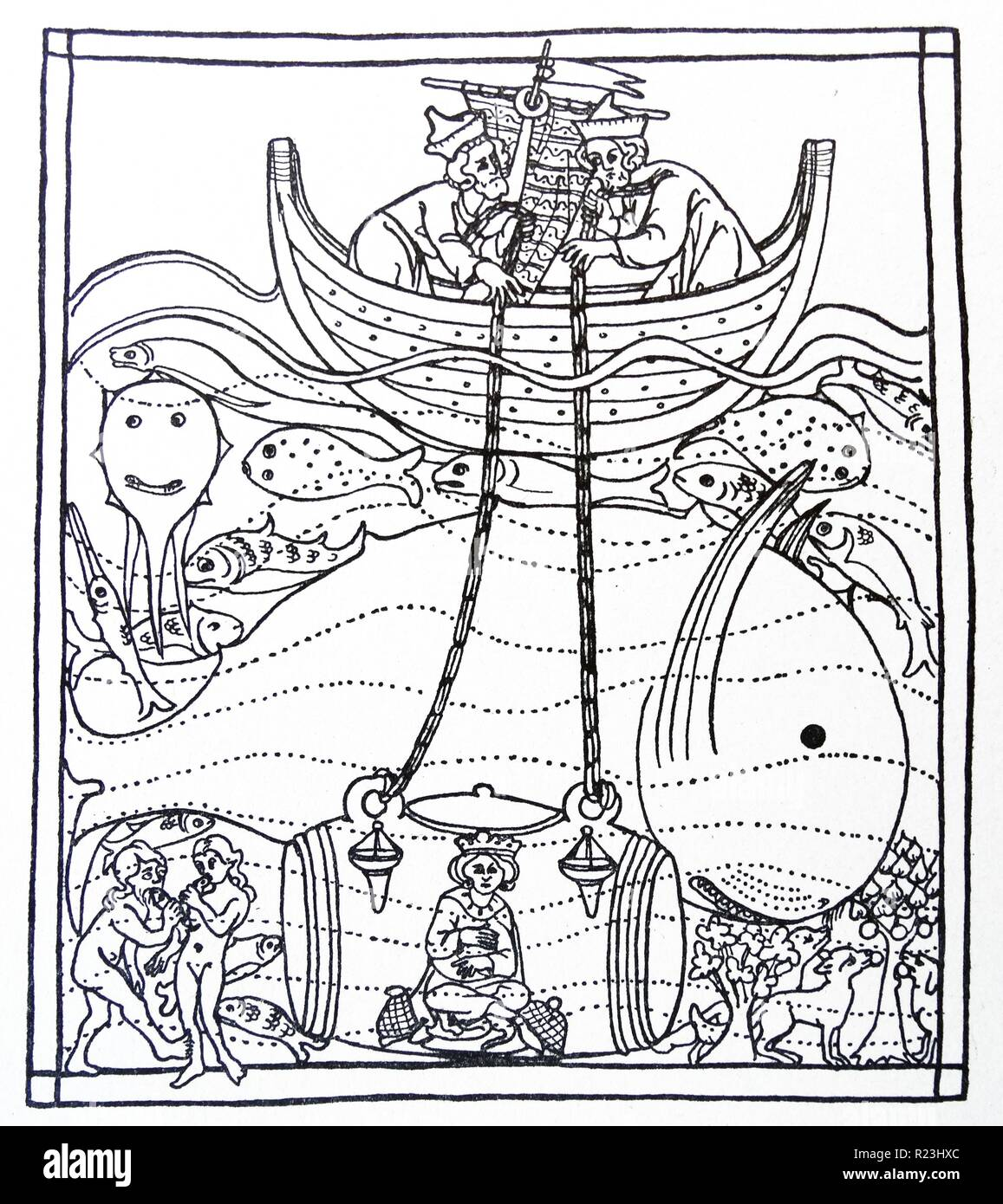 Mediaeval line drawing of Alexander the Great descending to the bottom of the sea in a glass barrel to study the fishes. Dated 12th Century - Stock Image
