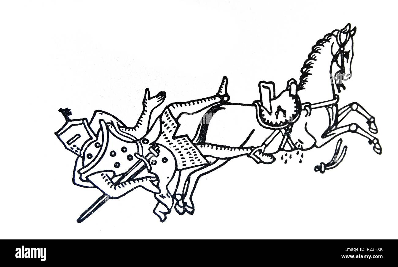 Line drawing of Gilbert Marshall being thrown from his horse when the reins broke. His foot was caught in the stirrup and he was dragged to death. Drawn by Matthew Paris. Dated 13th Century - Stock Image