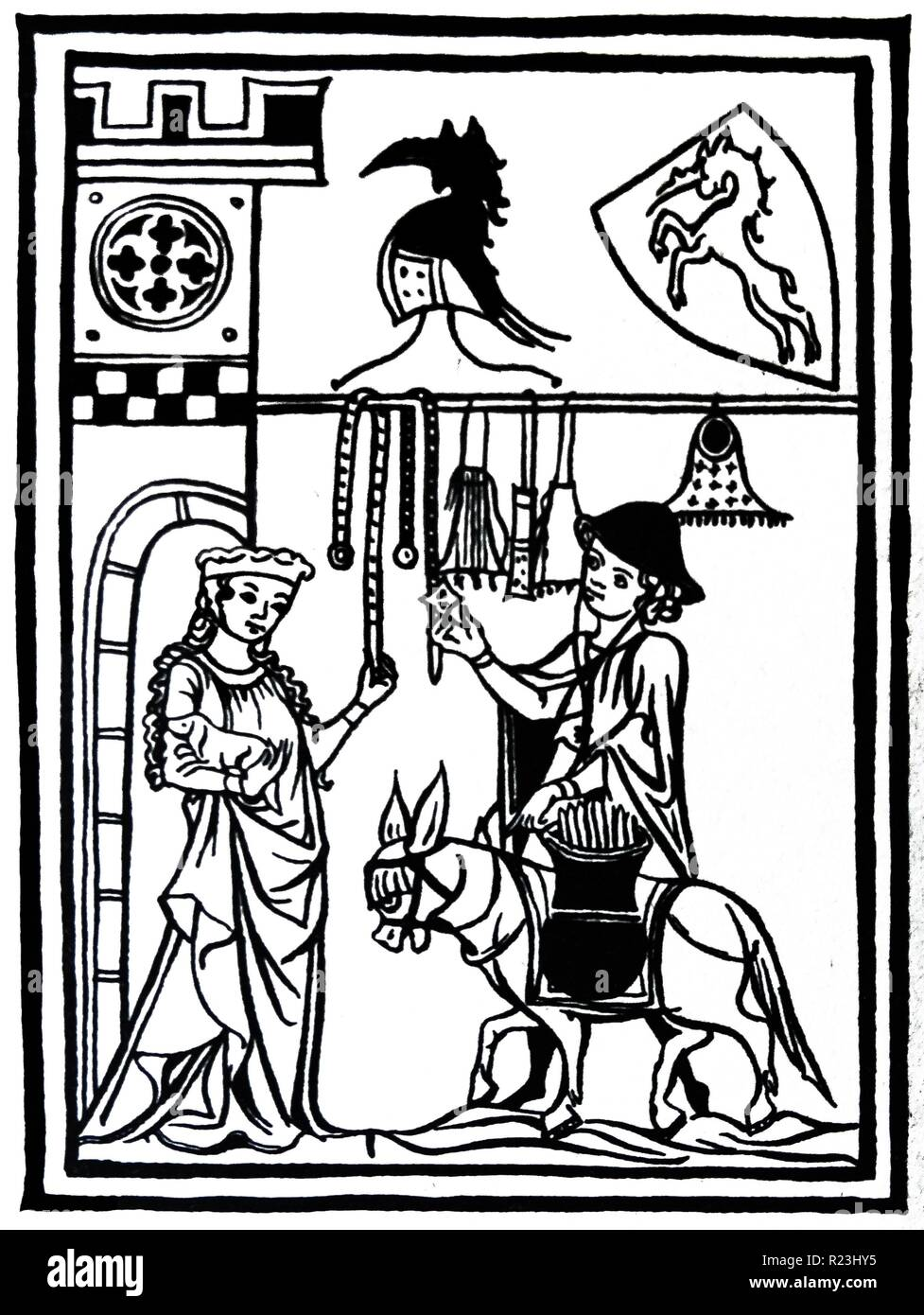 Woodcut of a travelling pedlar displaying his wares to the lady of the castle. She is depicted carrying a small dog whilst admiring the merchandise. Dated 14th Century - Stock Image