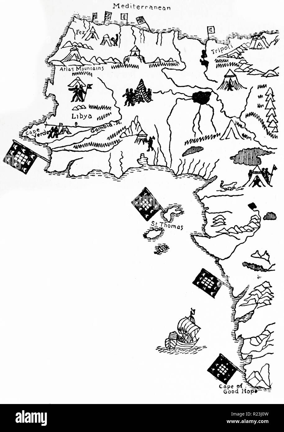 The West Coast of Africa from Martin Behaim's map, 1492 Stock