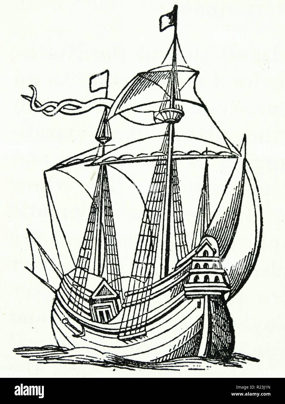 A ship of the late 16th century. From Ortelius 1598. - Stock Image