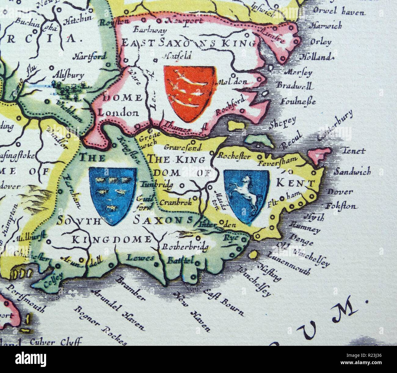 Shields of Sussex, Kent and Essex from the Heptarchy; a collective name applied to the Anglo-Saxon kingdoms of south, east, and central England during late antiquity and the early Middle Ages, Detail from an antique map of Britain, by the Dutch cartographer Willem Blaeu in Atlas Novus (Amsterdam 1635) Stock Photo