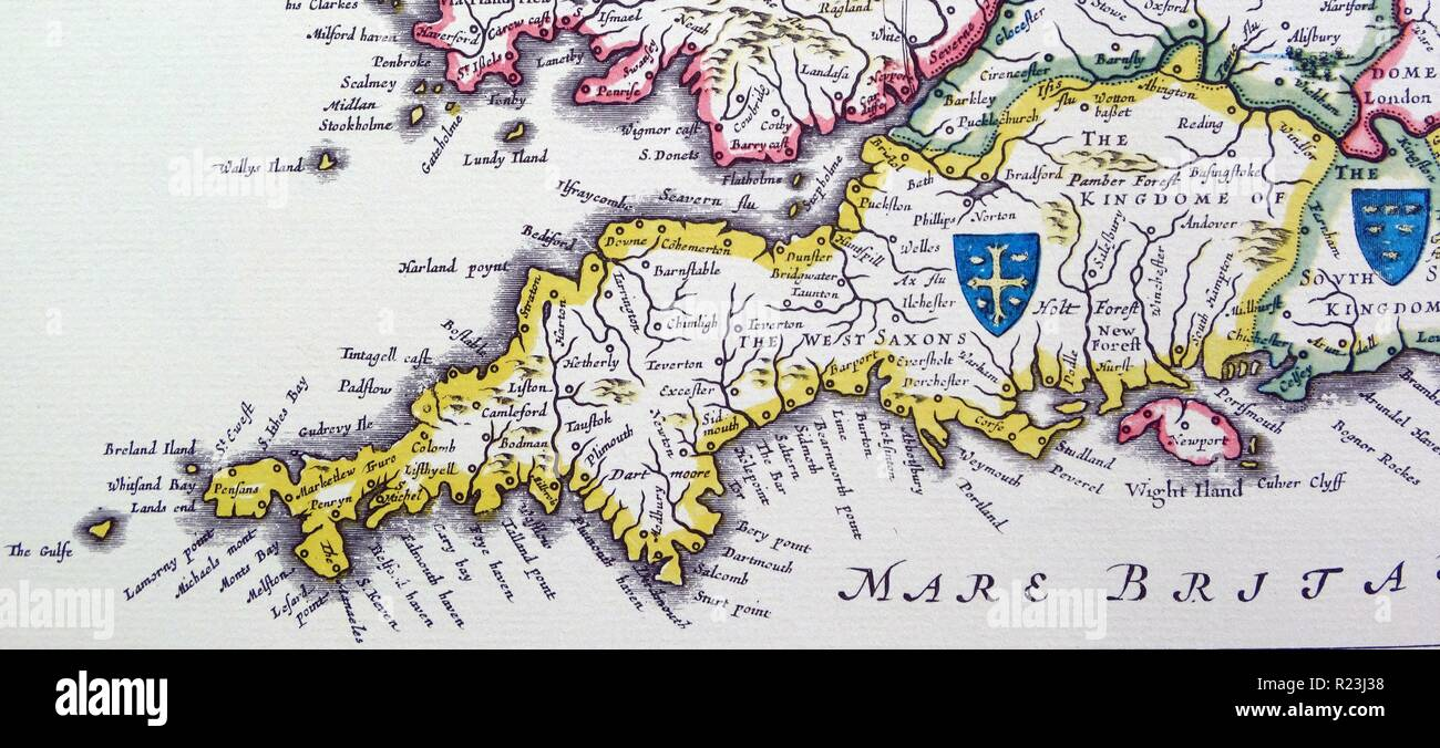 Shields of Wessex and Sussex from the Heptarchy; a collective name applied to the Anglo-Saxon kingdoms of south, east, and central England during late antiquity and the early Middle Ages, Detail from an antique map of Britain, by the Dutch cartographer Willem Blaeu in Atlas Novus (Amsterdam 1635) Stock Photo