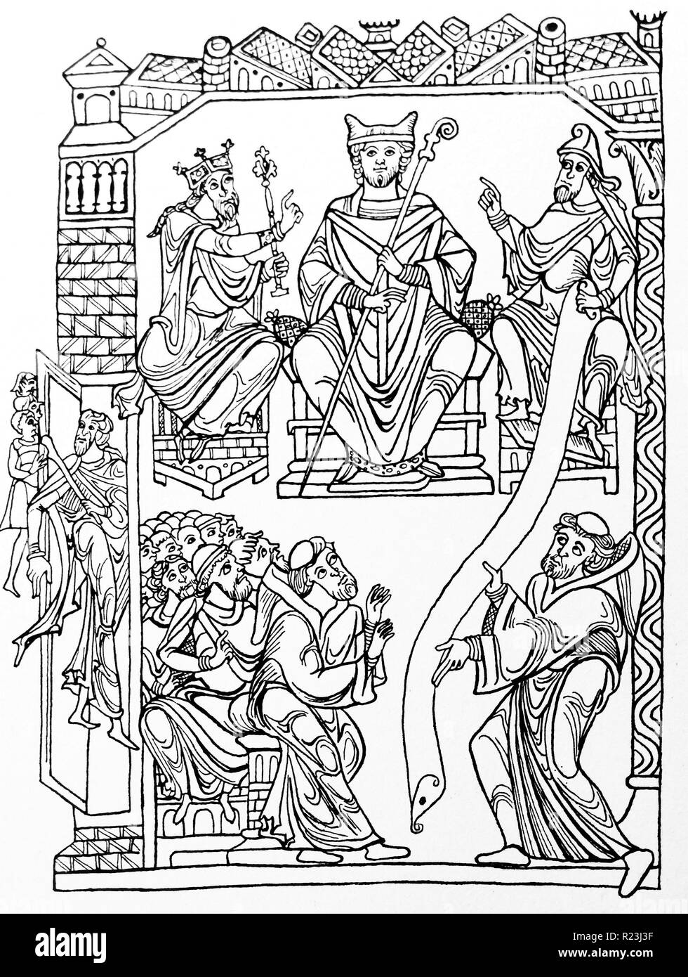 Line drawing of St Benedict handing his book (the Rule) to a group of monks symbolising the foundation of Western monasticism. Dated 12th Century - Stock Image