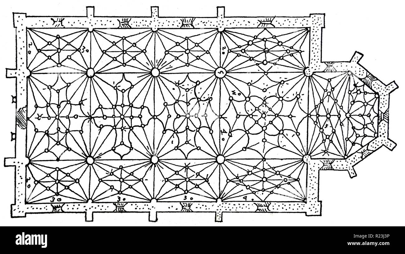 Vaulting pattern similar to that used by Spanish architect Rodrigo Gil de Honta-on (1500-1577) His work alternated the late gothic with the renaissance style. Dated 16th Century - Stock Image