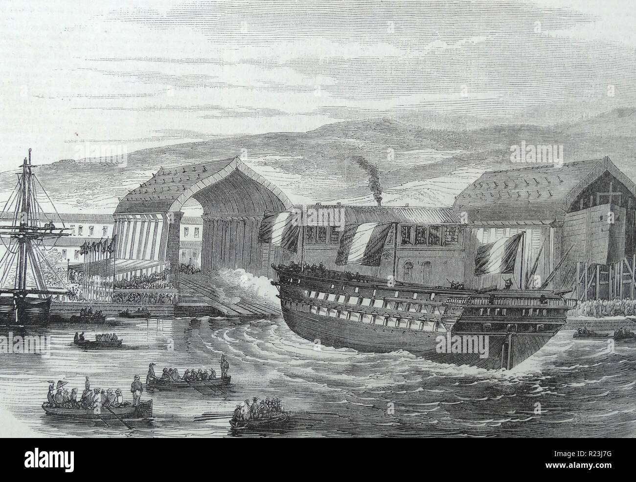 Illustration depicting a French ship being launched from a dock, France. Dated 1873 - Stock Image
