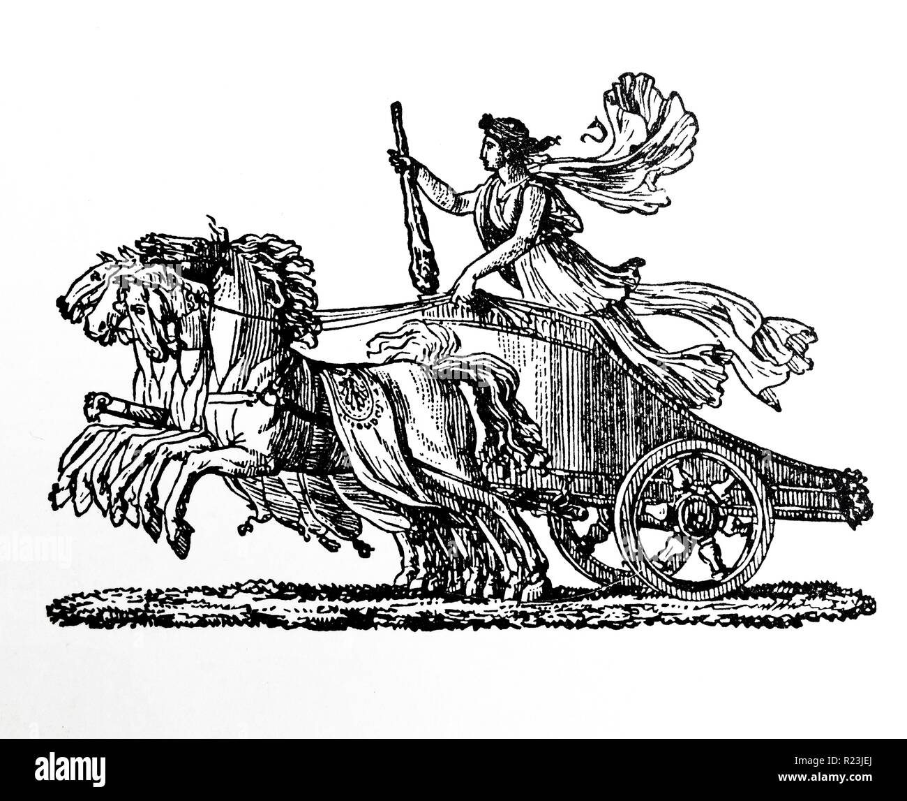 Fench woodcut from 1810, by Duplat. A woodcut is a relief printing process in which a relief-like wooden printing block is used to generate graphics - Stock Image