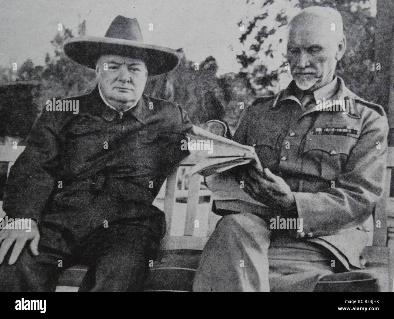Winston Churchill (1874-1965) Prime Minister of the United Kingdom from 1940-1945 and again 1951-1955 with Jan Christiaan Smuts, South African and British Commonwealth statesman, military leader and philosopher in Cairo. - Stock Image