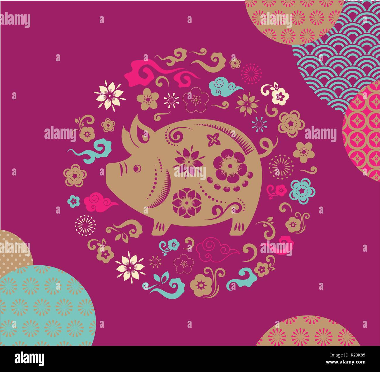 happy chinese new year 2019 the year of pig vector banner background template