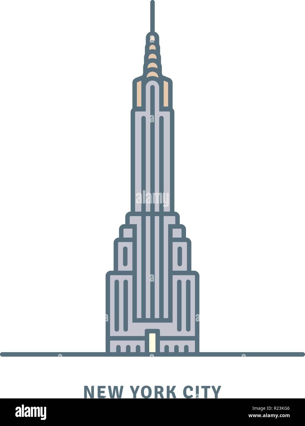 New York City line icon. Chrysler Building skyscraper vector illustration. - Stock Vector