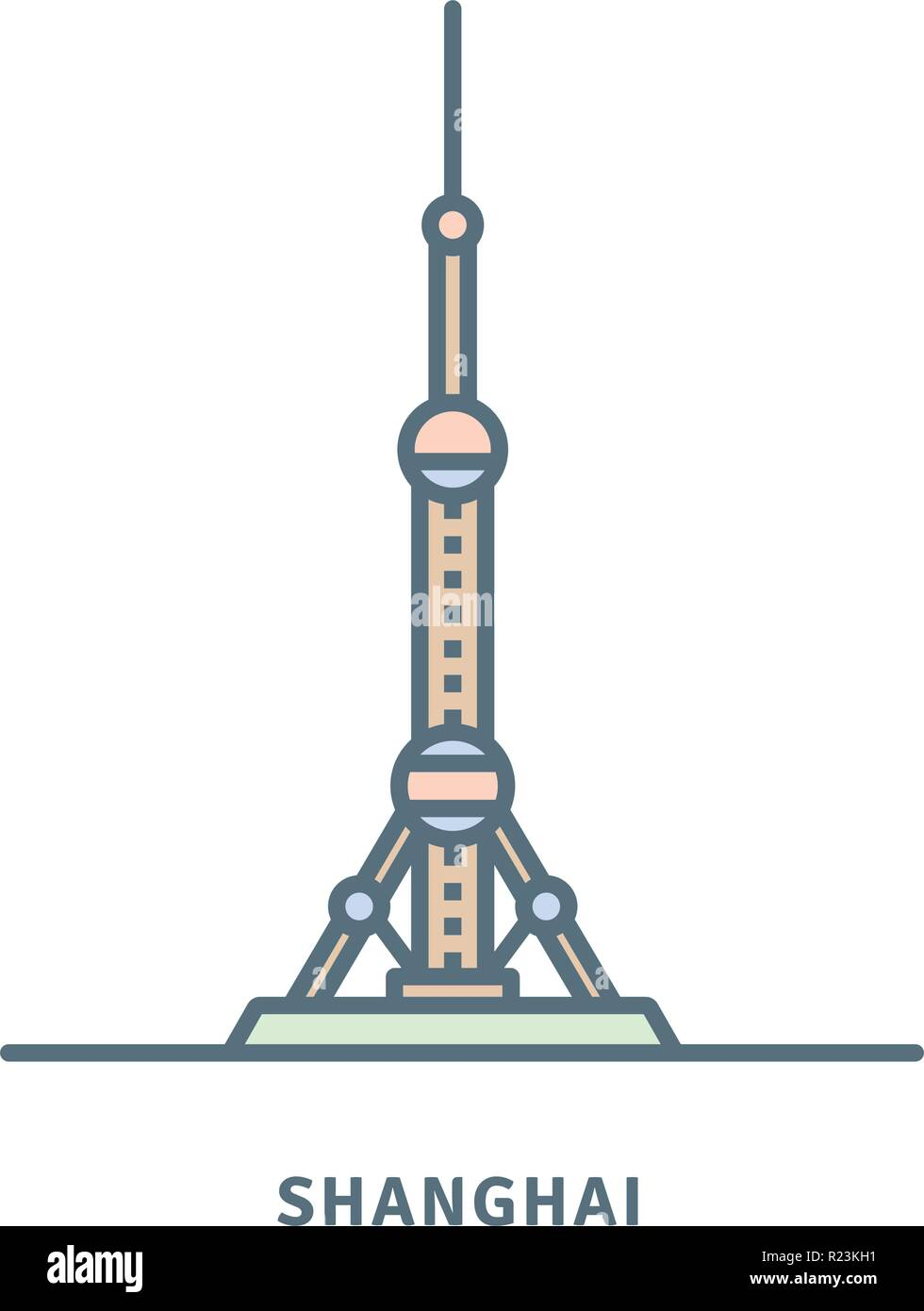 Shanghai line icon. The Oriental Pearl Radio and Television Tower vector illustration. - Stock Image