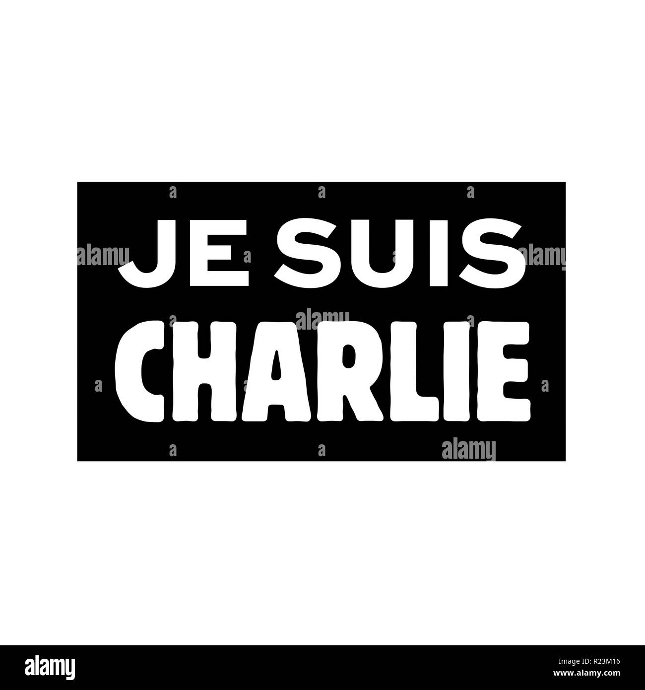 I'm Charlie called je suis Charlie in French language - Stock Image