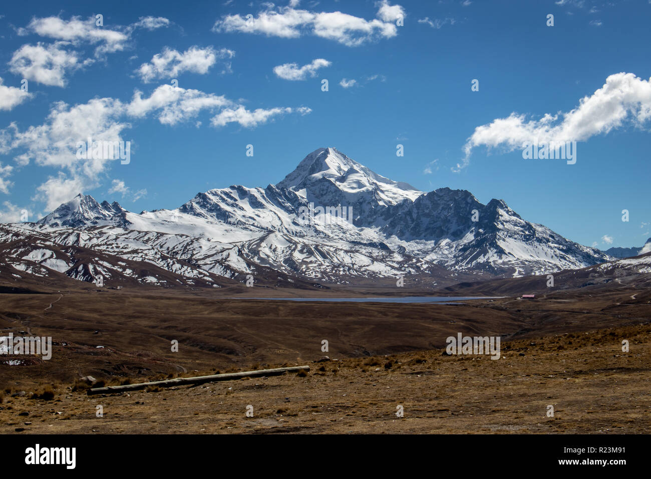 View of Huayna Potosi mountain in Cordillera Real near La Paz, Bolivia - Stock Image