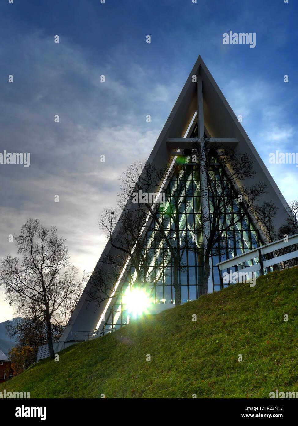 Sun reflexion on Ishav Cadhedral, Tromso, Norway - Stock Image