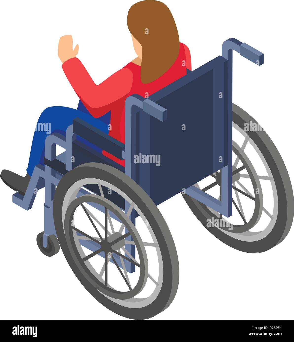 Woman in wheelchair icon, isometric style - Stock Vector
