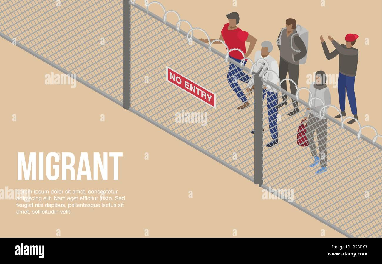 Migrant people at border country concept background, isometric style - Stock Image