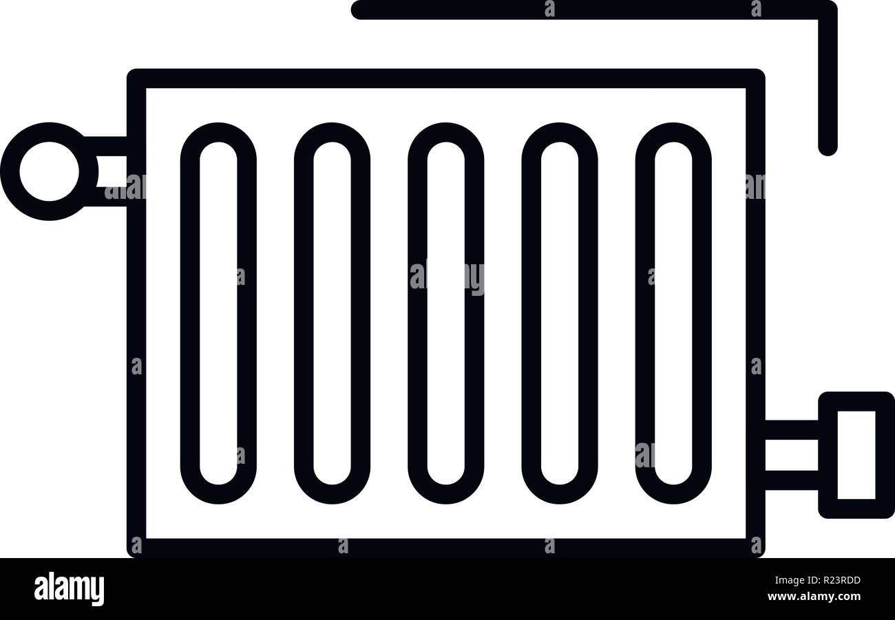 Warm radiator icon, outline style - Stock Vector