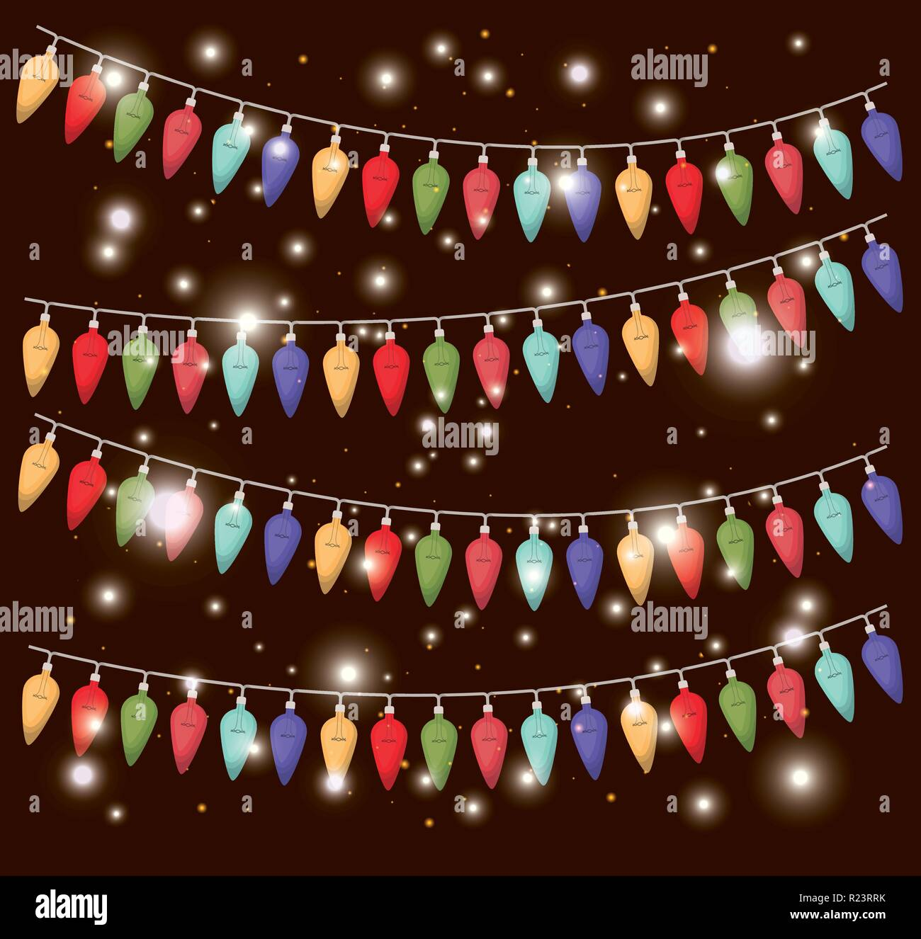 colors christmas lights hanging decoration - Stock Vector