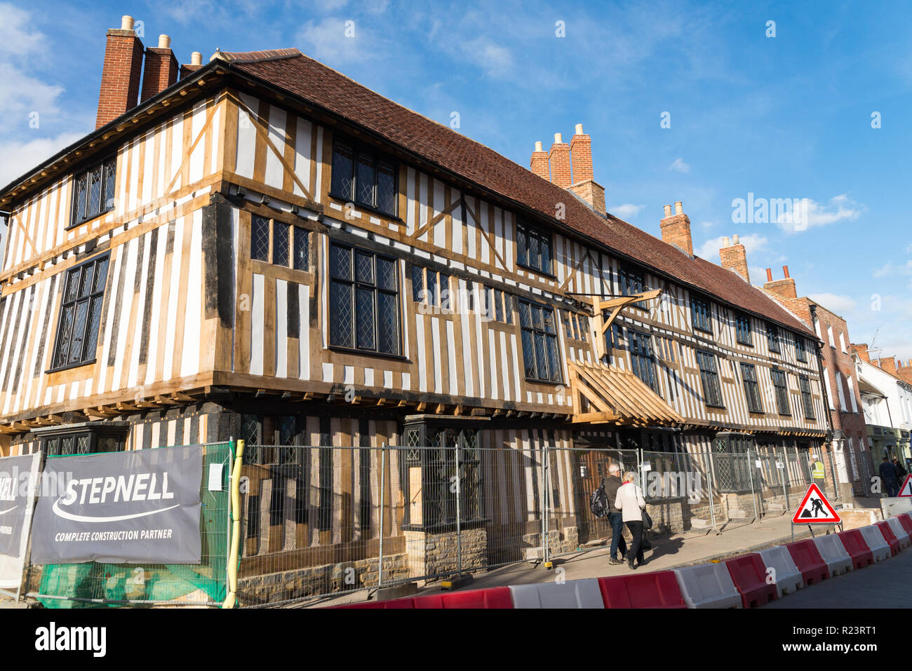 Hotal Indigo historic timber-framed building which is undergoing full external restoration in Stratford-upon-Avon, Warwickshire - Stock Image