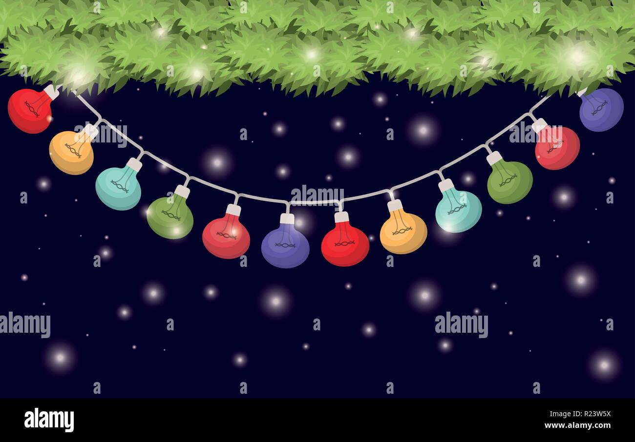 garlands with christmas lights hanging - Stock Vector