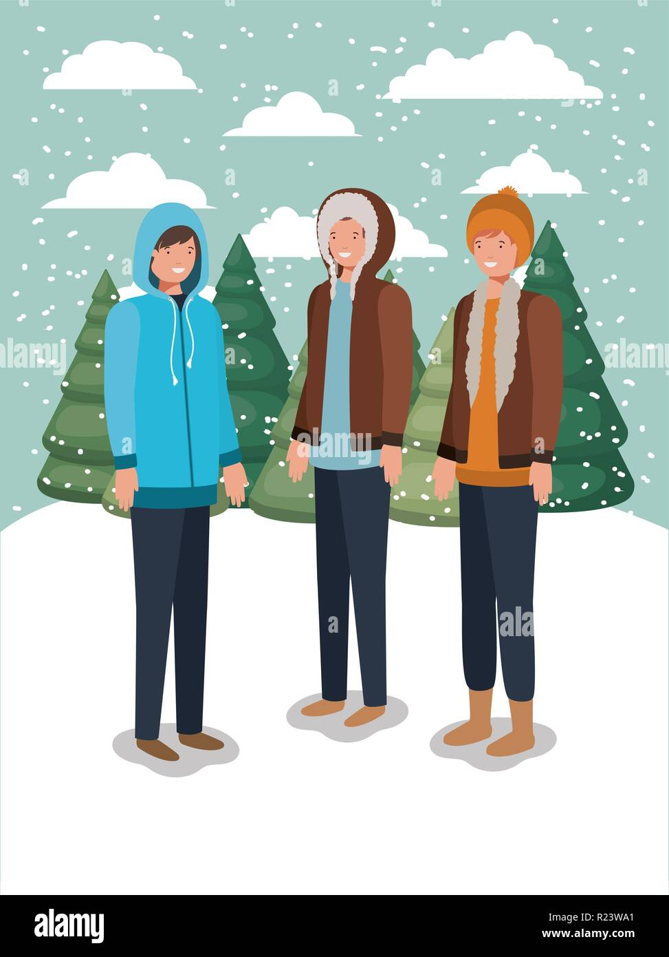 group of men in snowscape with winter clothes Stock Vector