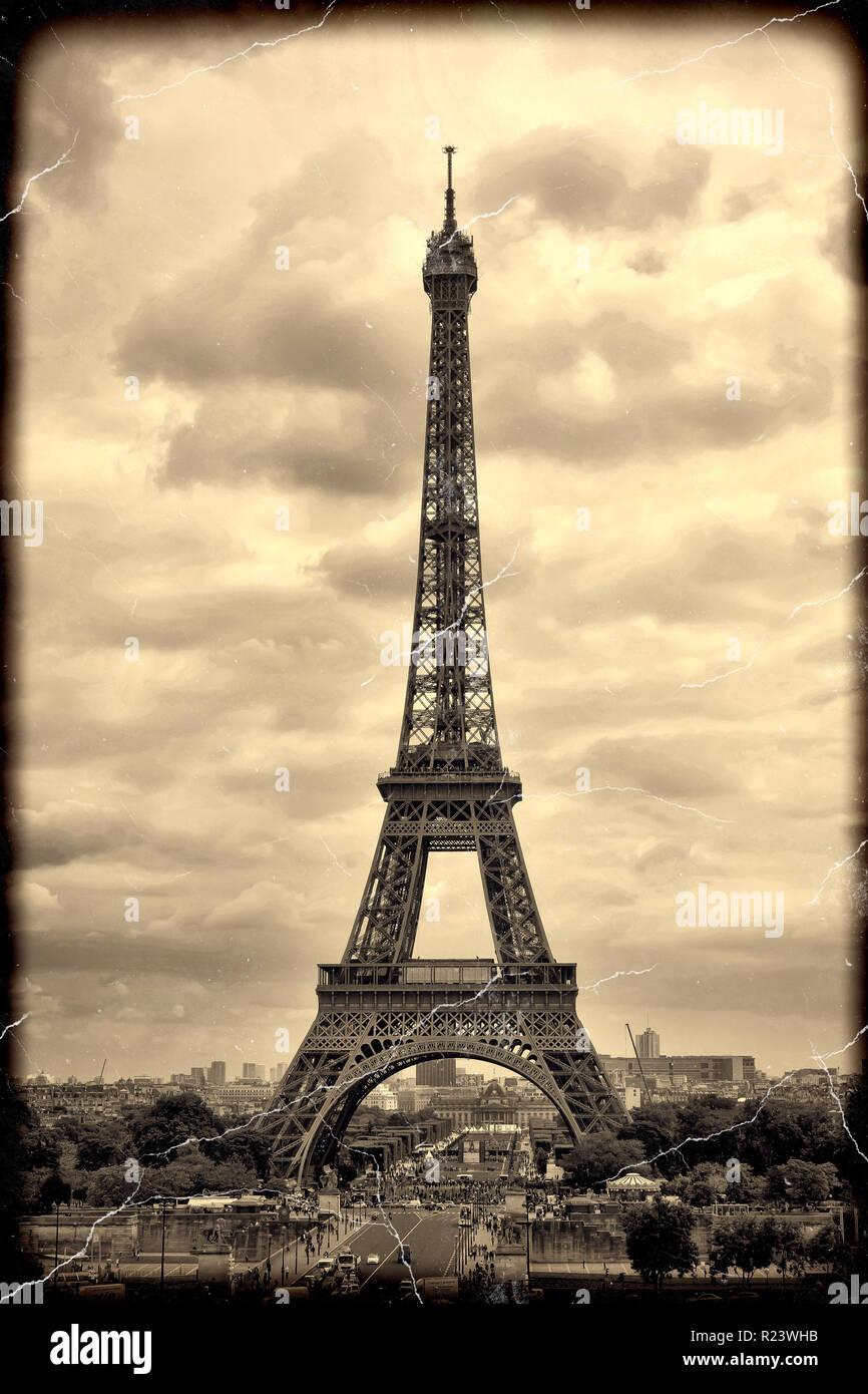 Panorama Eiffel Tower In Paris France Vintage View Tour Eiffel Old Retro Style Stock Photo Alamy