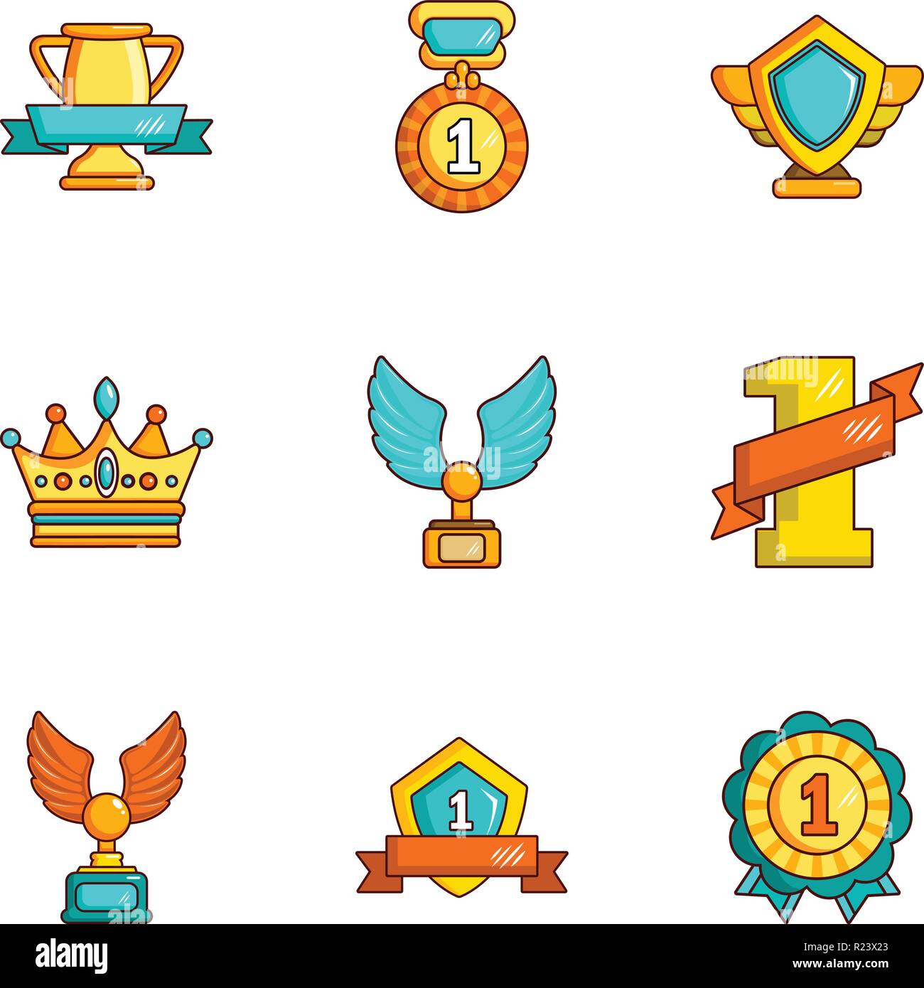 Dearness icons set, cartoon style - Stock Image