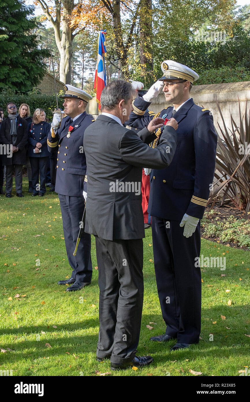 Sat 10th Nov 2018. French Ambassador Jean-Pierre Jouyet at the Free French Military section to lead a remembrance service & award military medals. Stock Photo